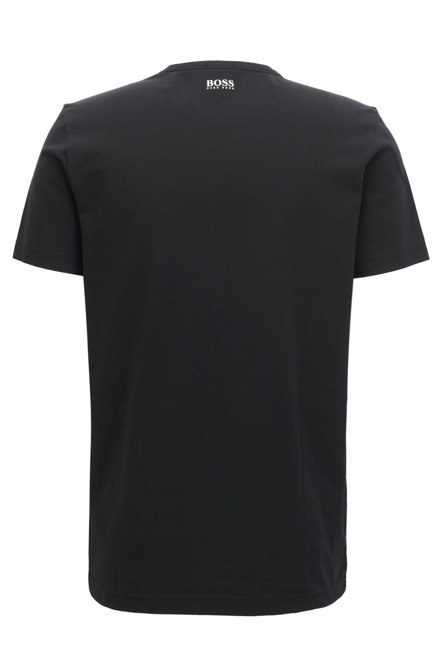 Stretch cotton jersey T-shirt with logo artwork