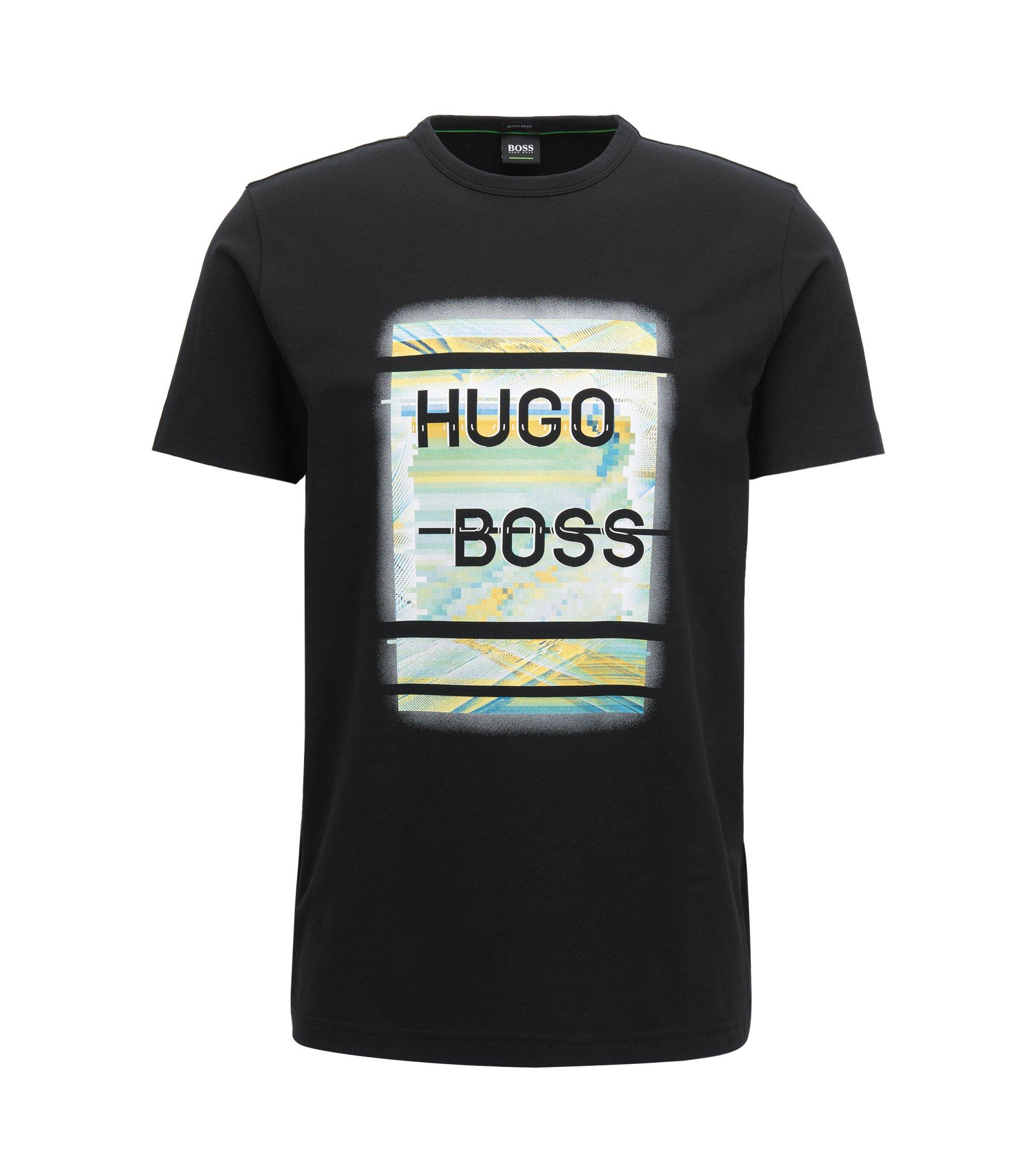 T-Shirt aus elastischer Baumwolle mit Logo-Print, Schwarz