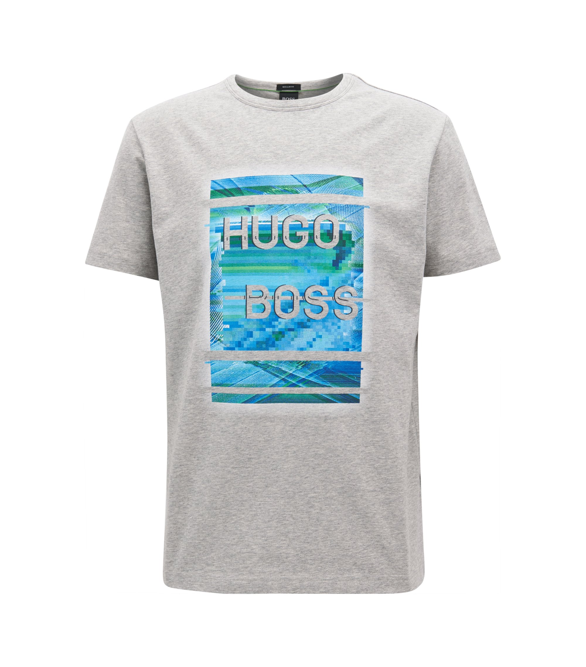 Stretch cotton jersey T-shirt with logo artwork, Light Grey
