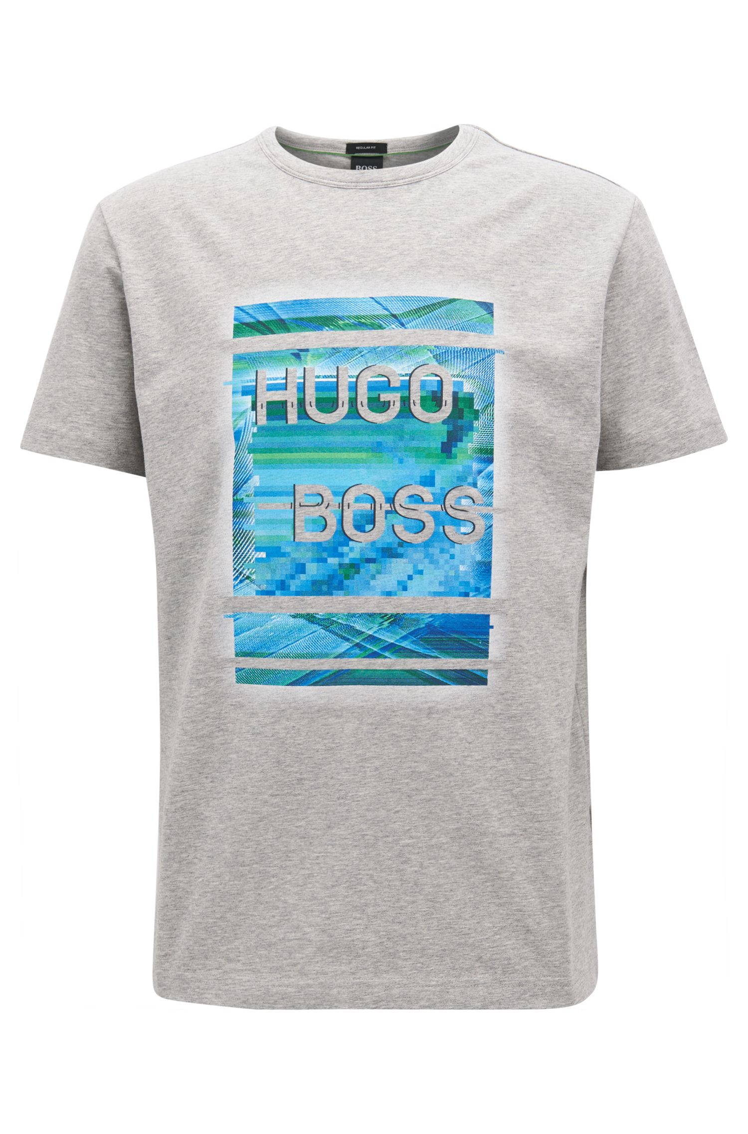 Camiseta de punto de algodón elástico con diseño con logo