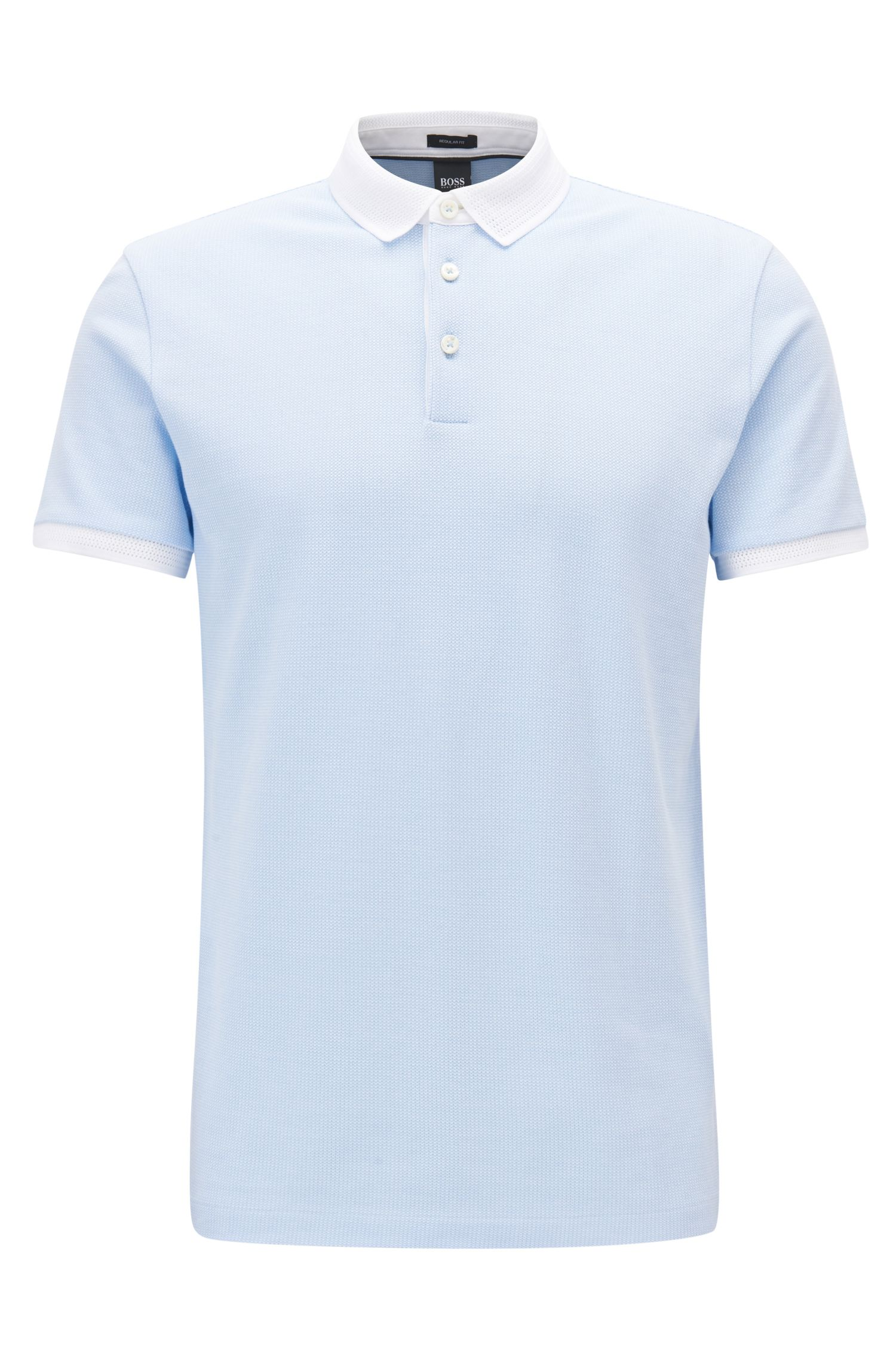 Polo en coton à micro-motif bicolore