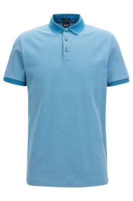 Poloshirt aus Baumwolle mit zweifarbigem Muster, Türkis