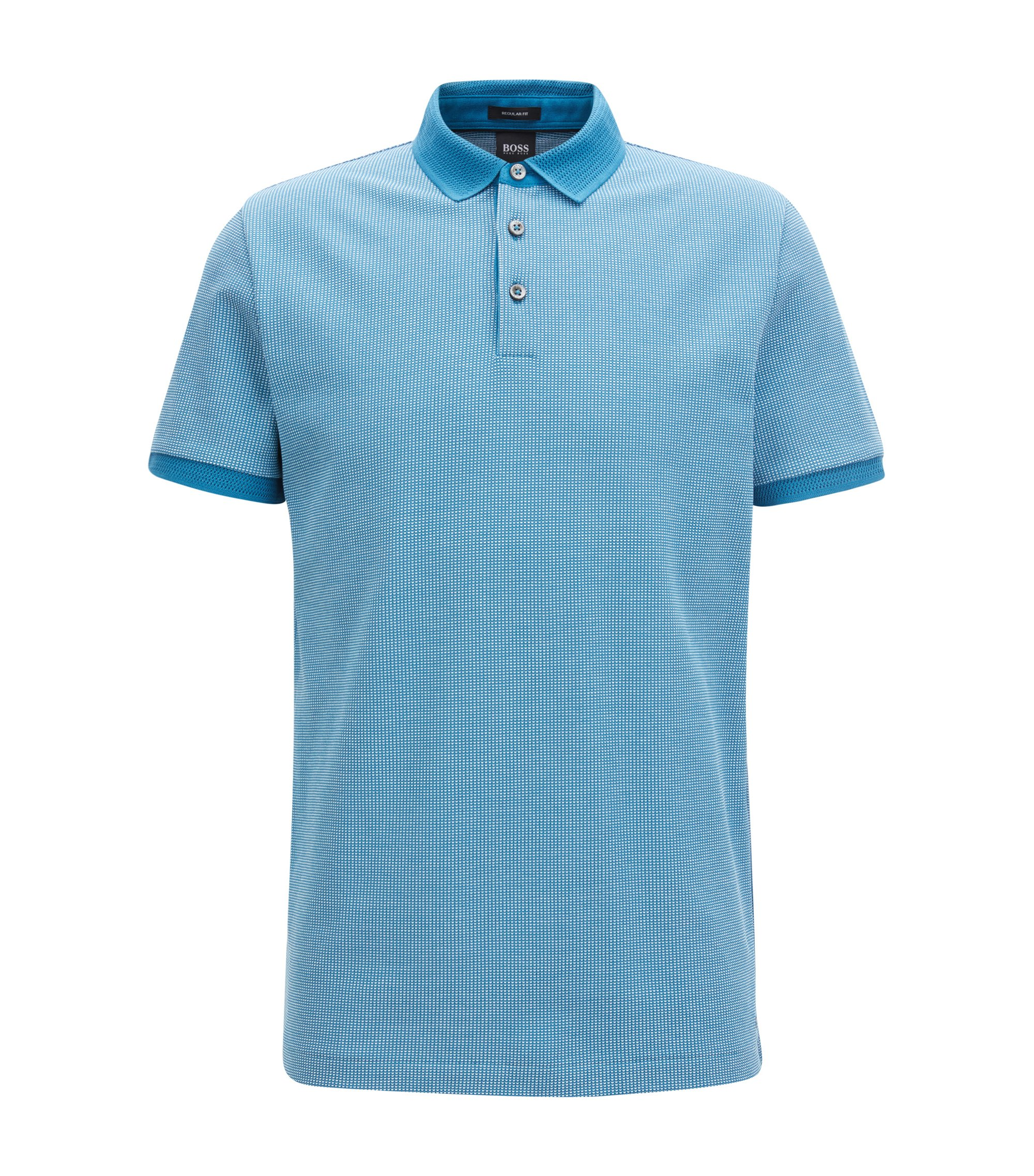 Cotton polo shirt in two-tone micro pattern, Turquoise