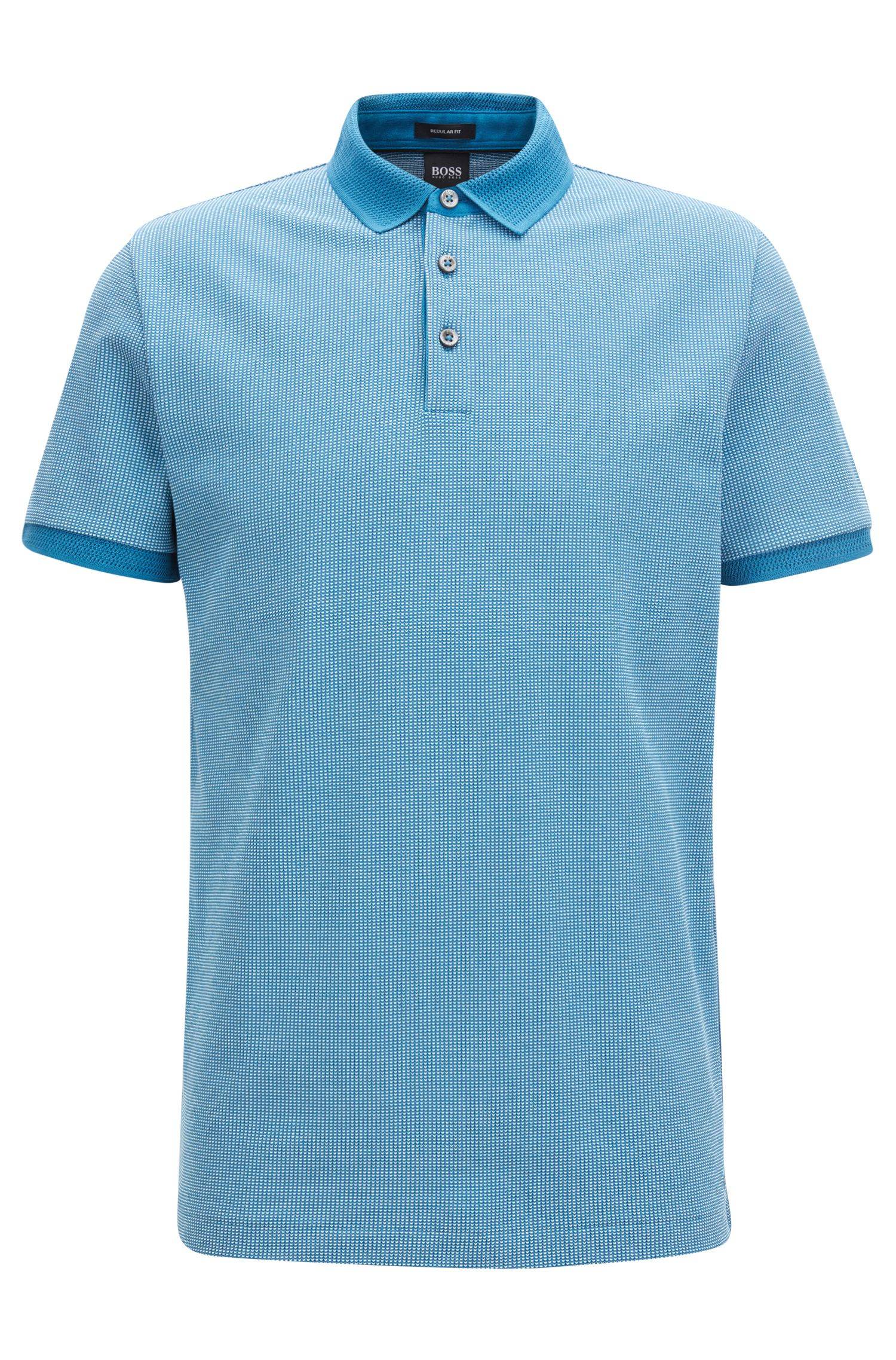 Cotton polo shirt in two-tone micro pattern