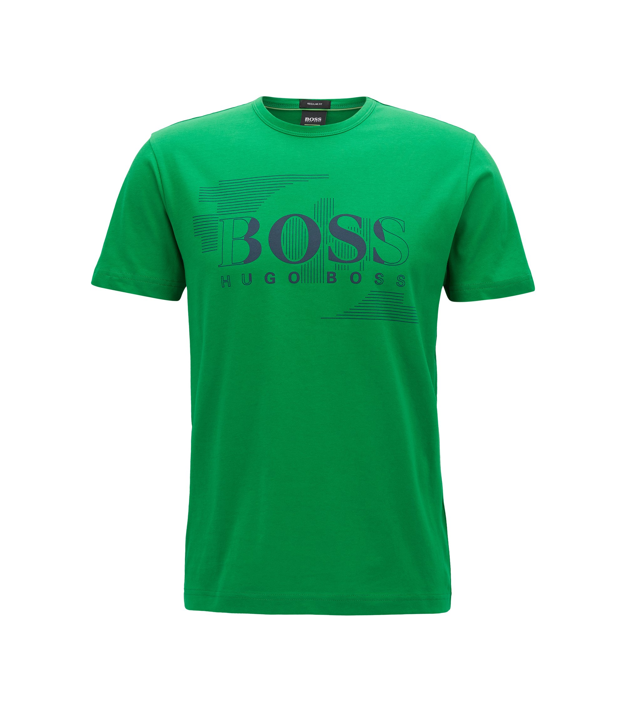 Crew-neck T-shirt in single-jersey cotton, Green