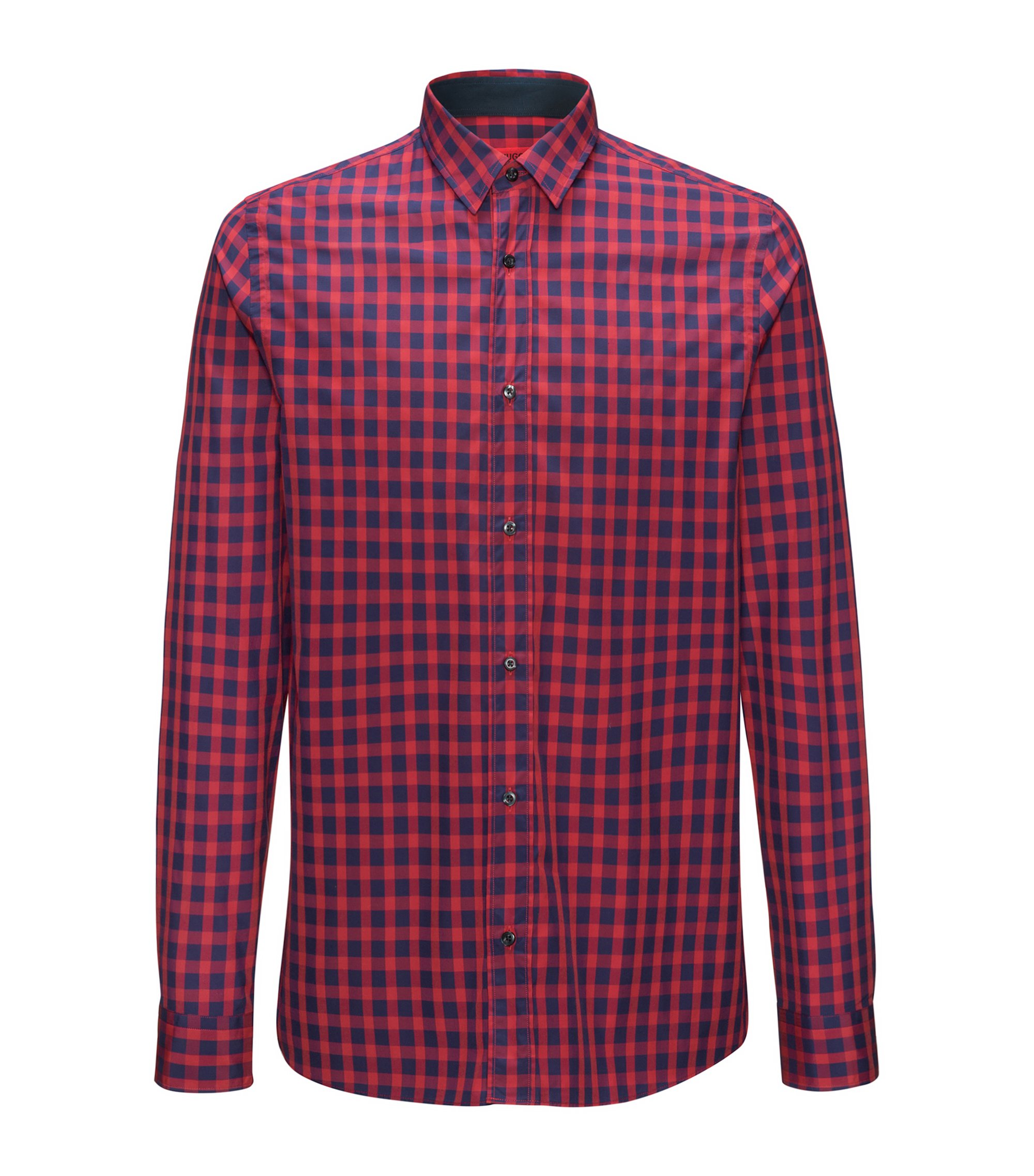 Cotton shirt in a Vichy check, Red