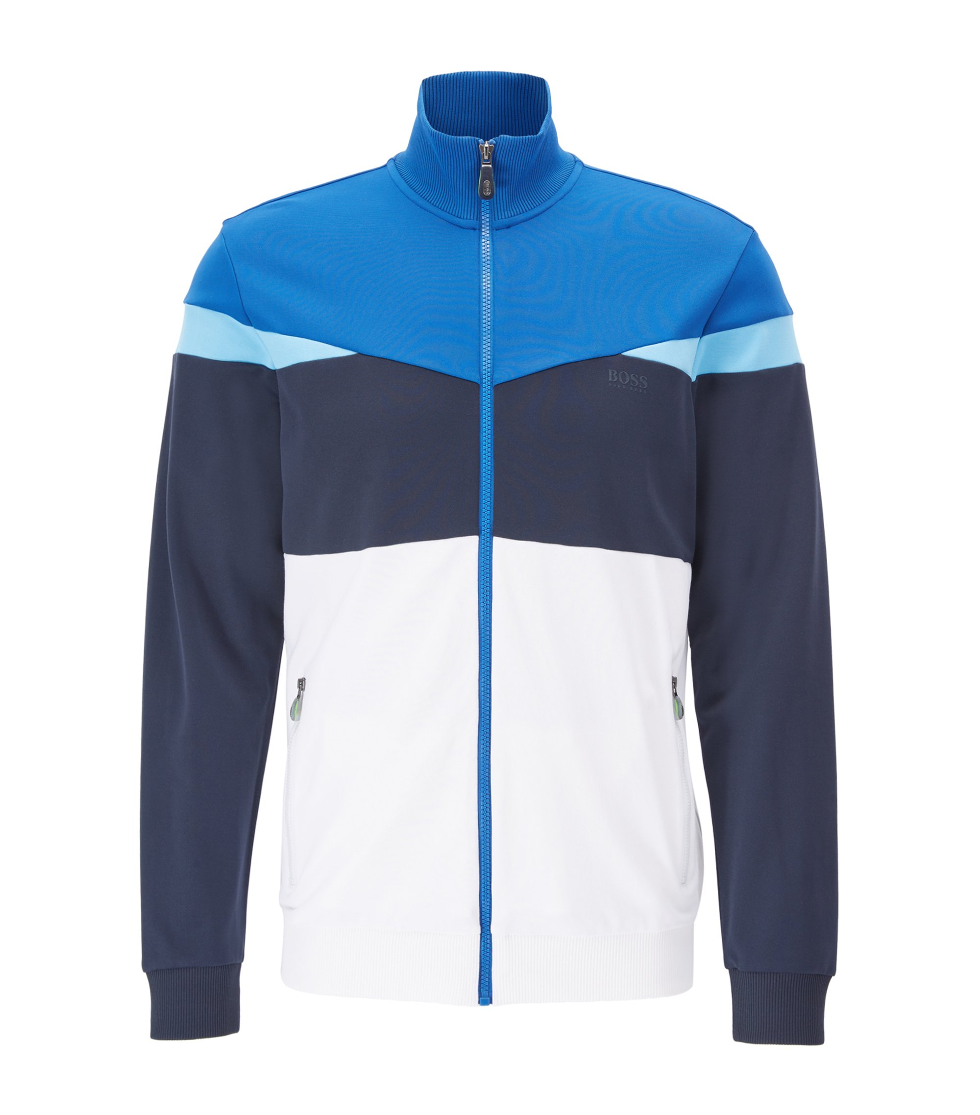 Regular-Fit Jacke aus Piqué in Colour-Block-Optik, Gemustert