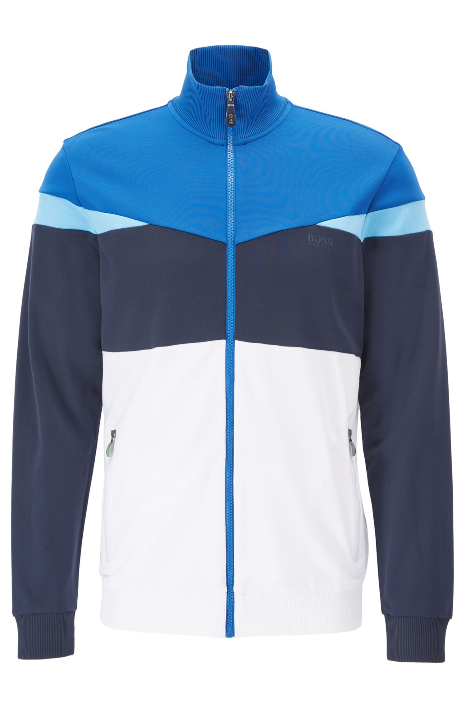 Regular-Fit Jacke aus Piqué in Colour-Block-Optik