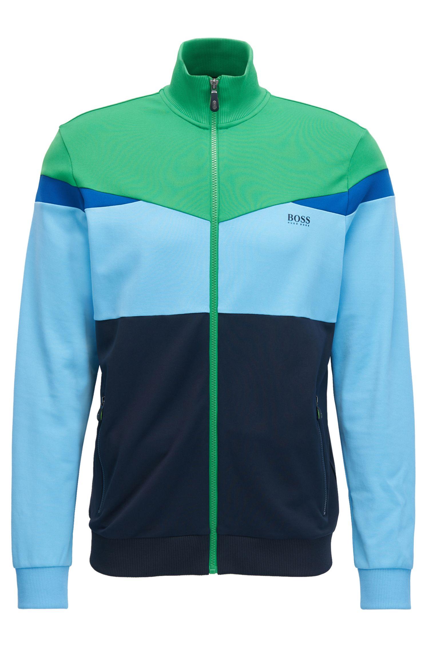 Regular-Fit Jacke aus Piqué in Colour-Block-Optik