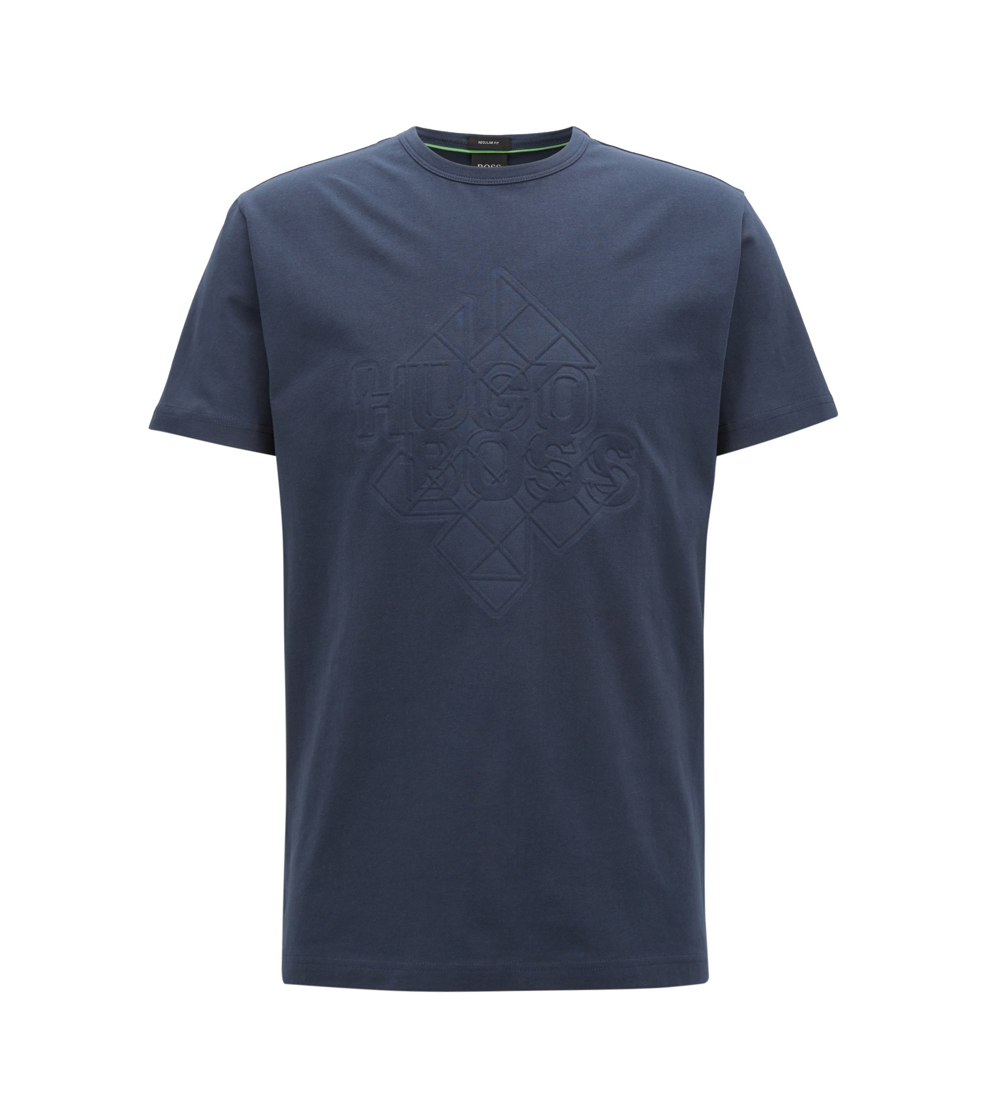 Stretch-cotton T-shirt with embossed artwork, Dark Blue