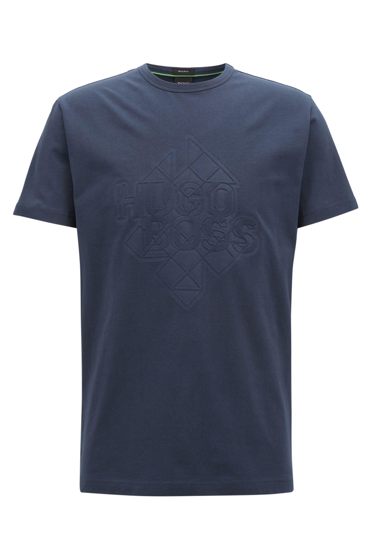 T-shirt in cotone elasticizzato con decorazione goffrata