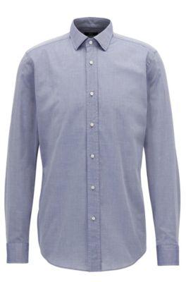 Camisa slim fit en cambray de algodón lavado, Azul