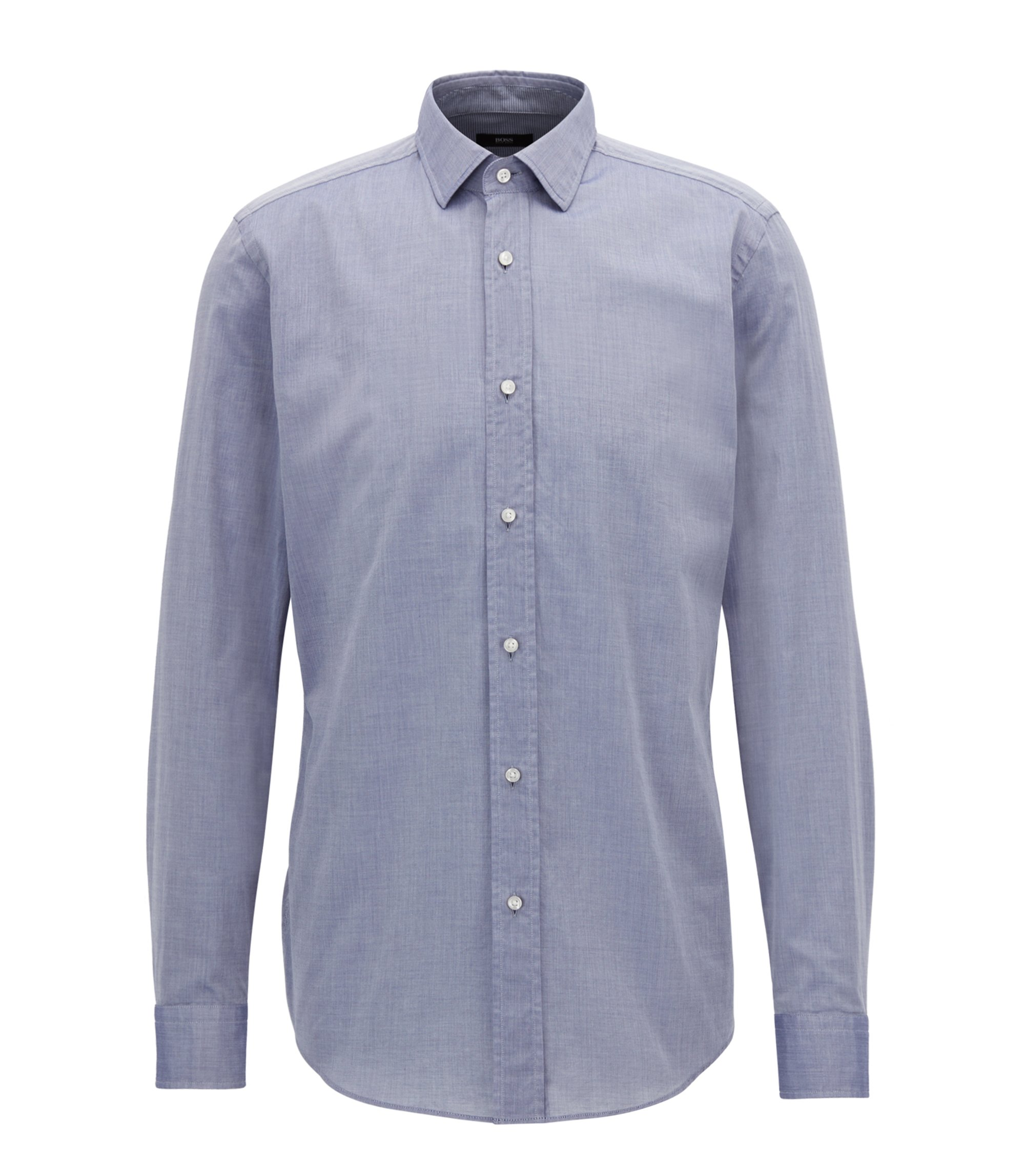 Slim-fit shirt in washed cotton chambray, Blue