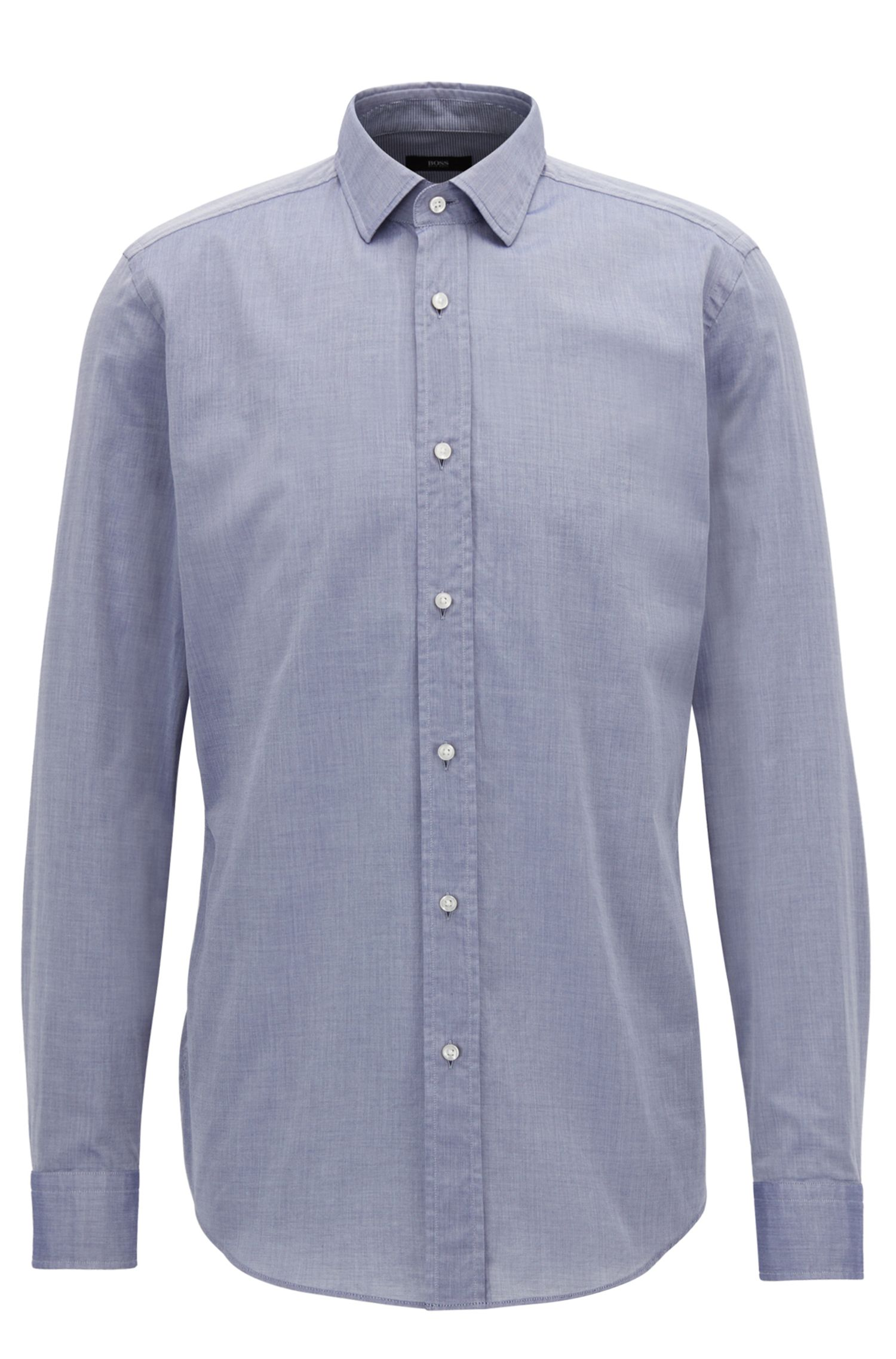 Slim-fit shirt in washed cotton chambray BOSS