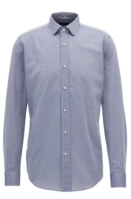 Slim-fit shirt in washed cotton chambray BOSS Footaction Cheap Price dZbUI