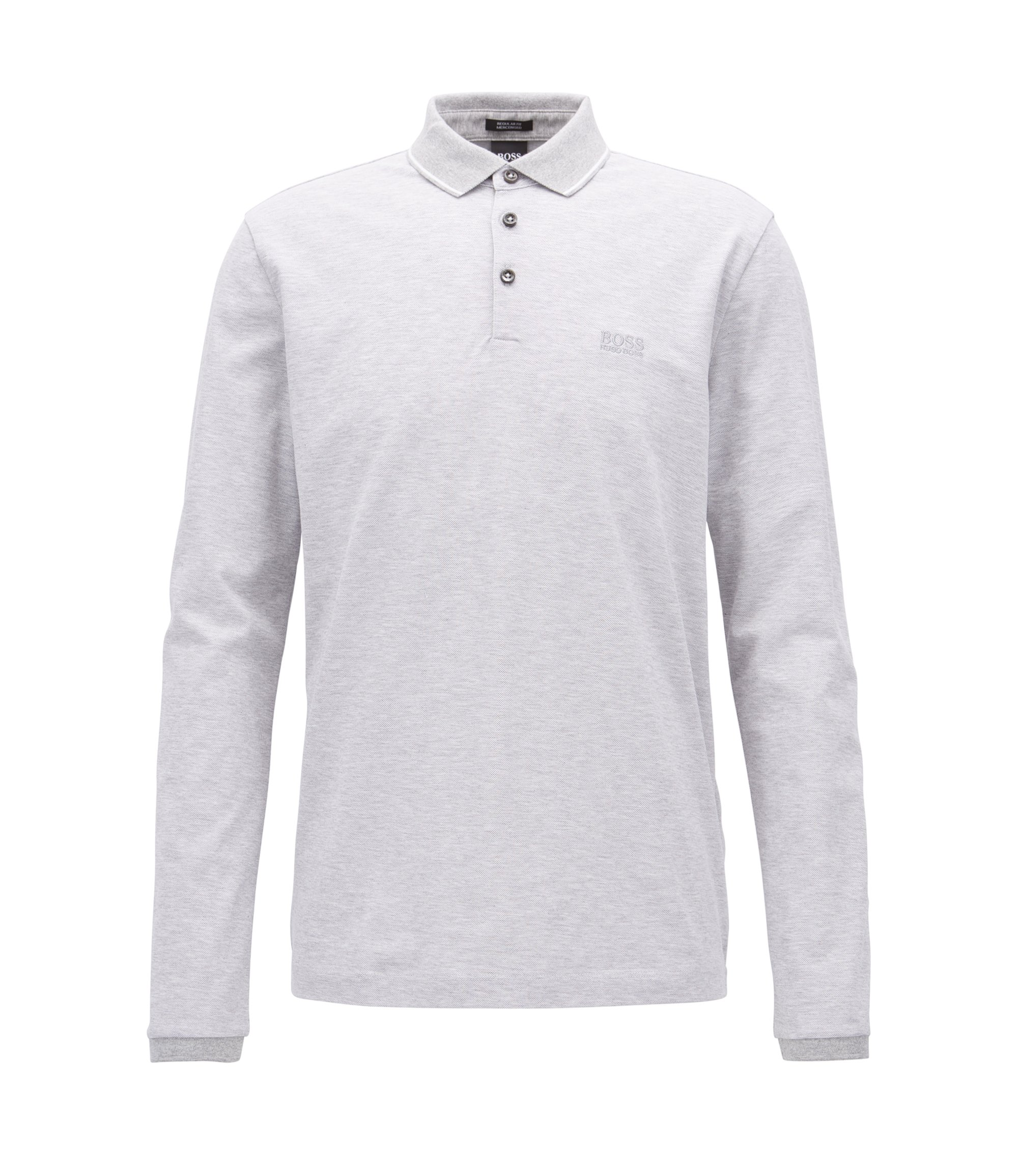 Long-sleeved polo shirt in mercerised cotton, Light Grey