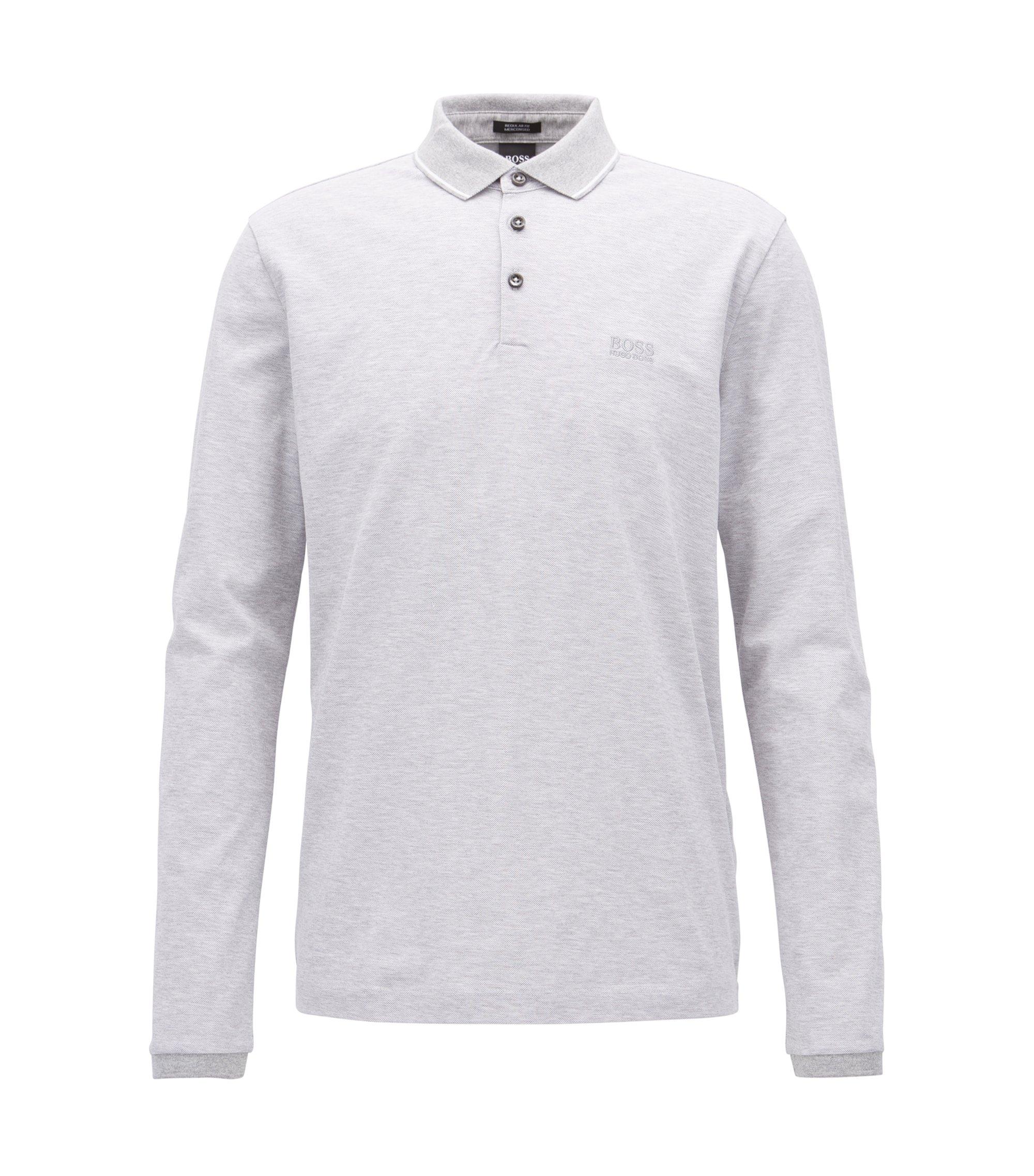 Longsleeve-Poloshirt aus merzerisierter Baumwolle, Hellgrau