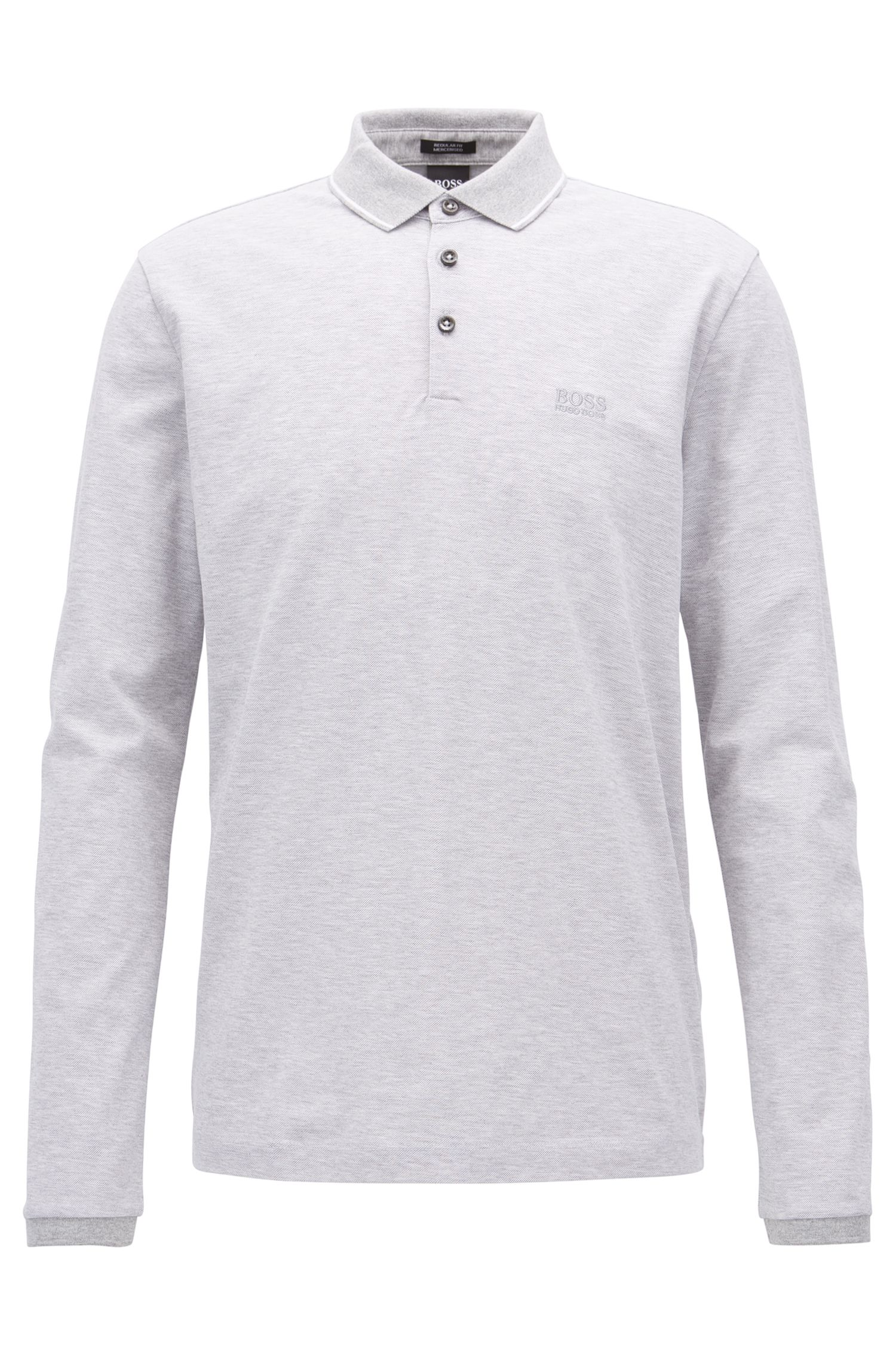 Long-sleeved polo shirt in mercerised cotton