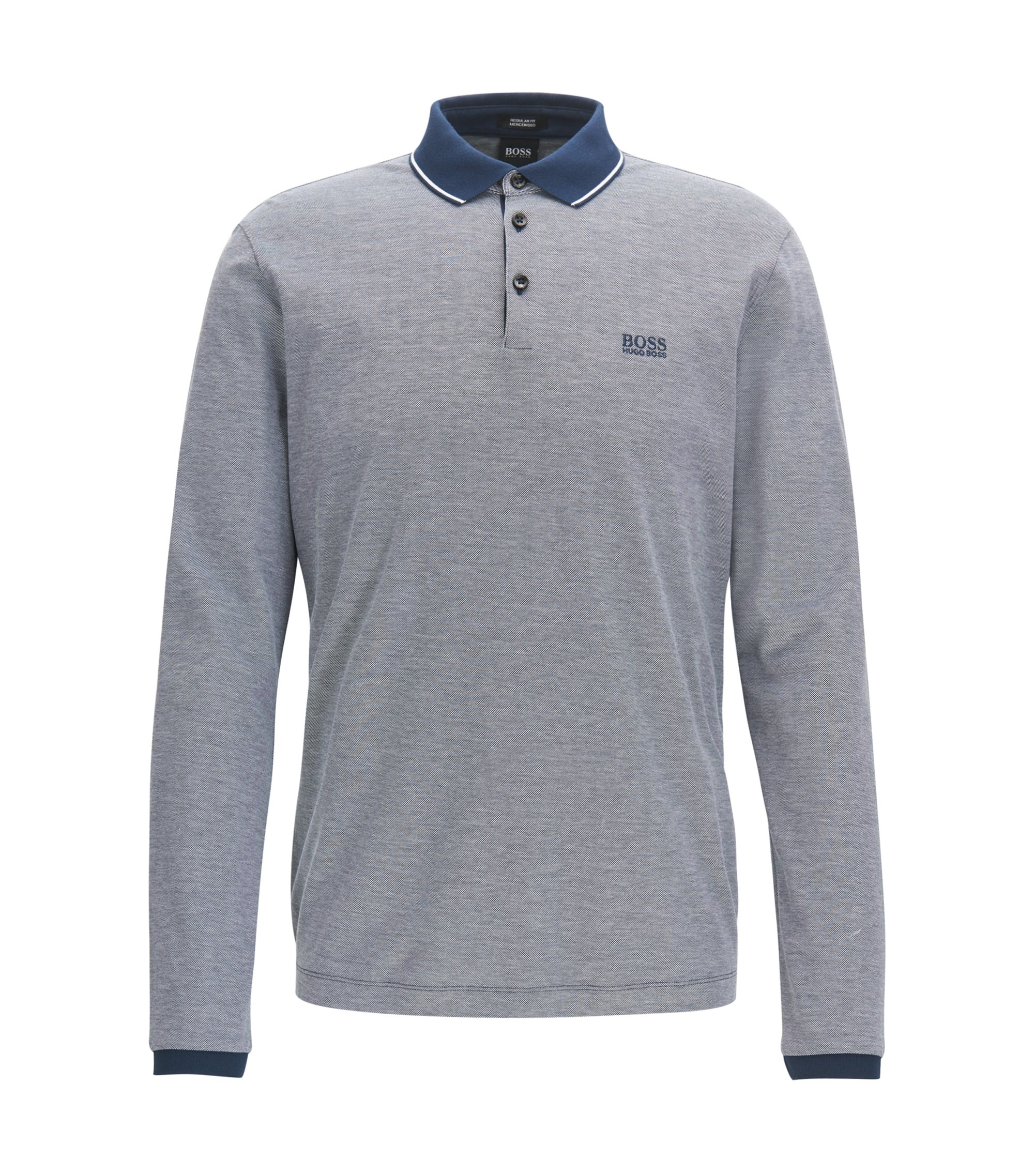 Long-sleeved polo shirt in mercerised cotton, Dark Blue