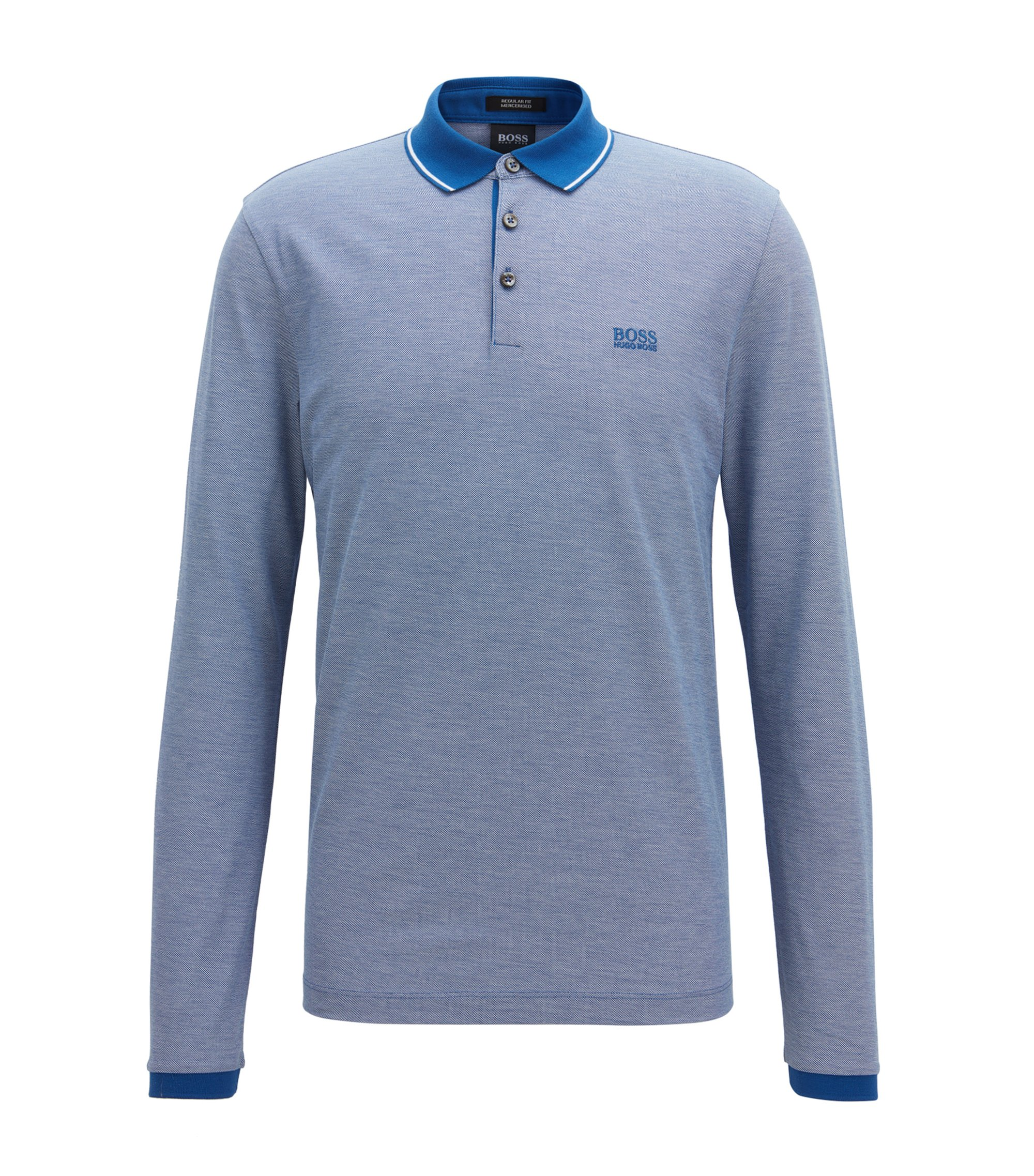 Long-sleeved polo shirt in mercerised cotton, Blue