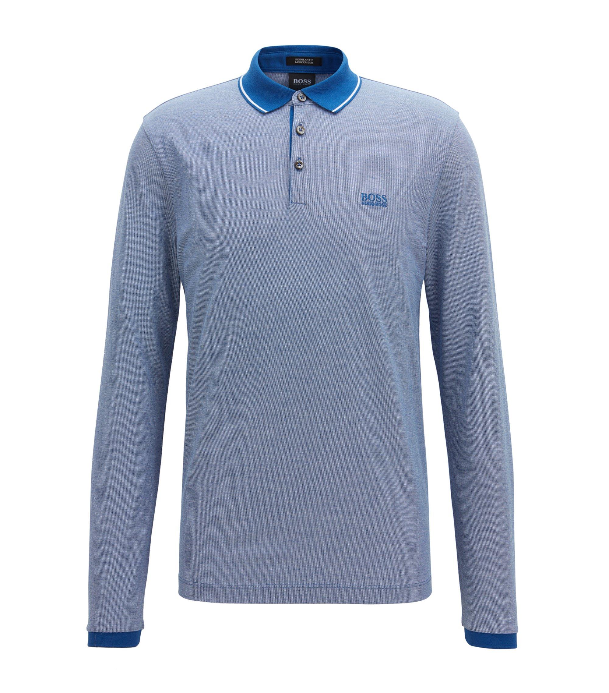 Polo à manches longues en coton mercerisé, Bleu