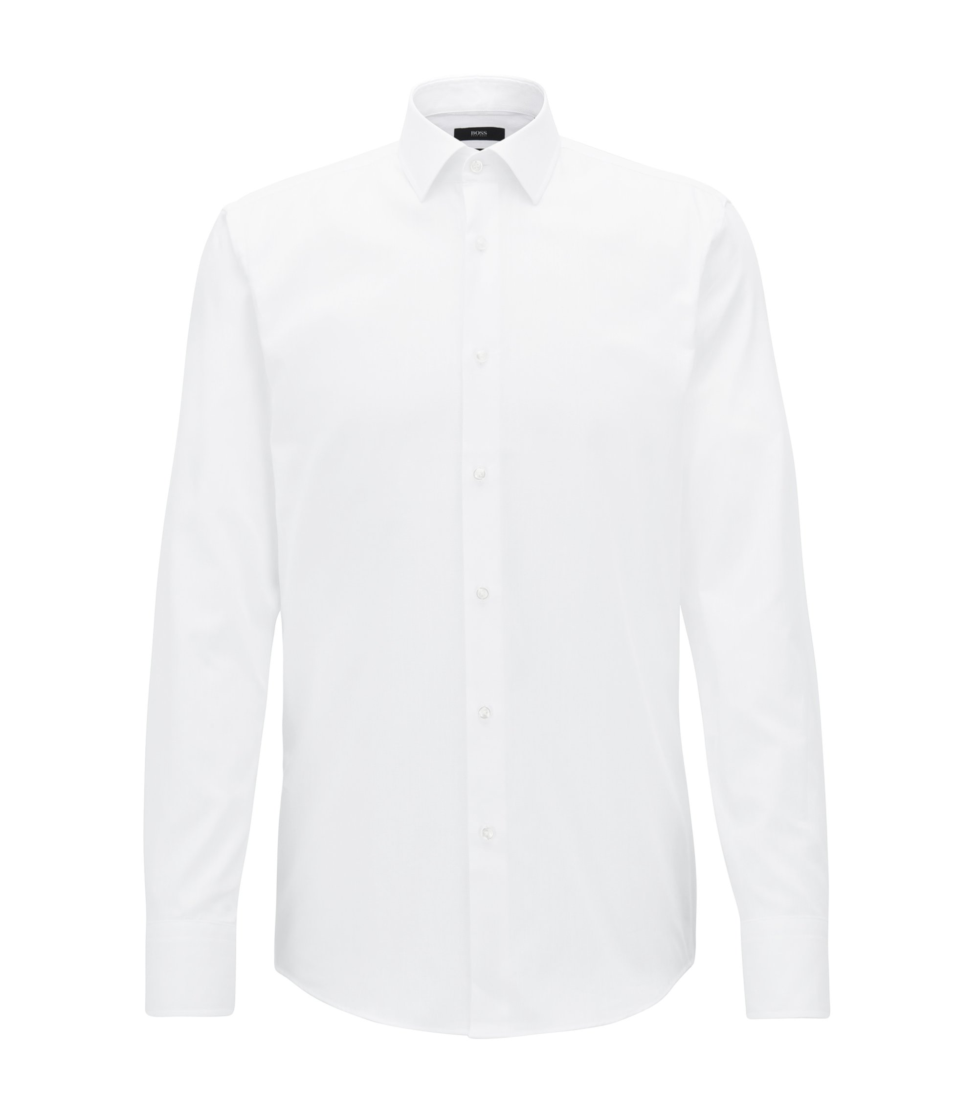 Slim-fit shirt in pure Oxford cotton, White