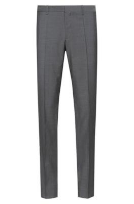 Slim-fit trousers in textured virgin wool, Grey