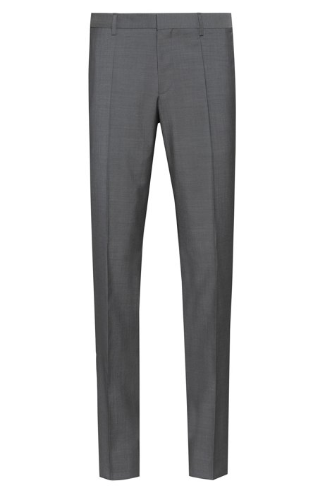 Slim-fit trousers in textured virgin wool, Grey