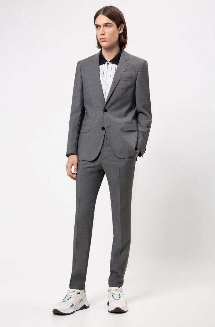 Slim-fit trousers in textured virgin wool