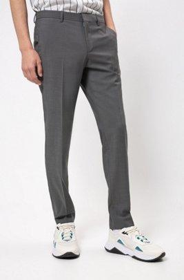 Slim-Fit Hose aus strukturierter Schurwolle, Grau