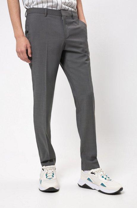 Pantalon Slim Fit en laine vierge texturée, Gris