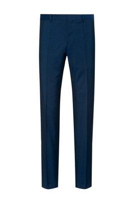 Slim-fit trousers in textured virgin wool, Blue
