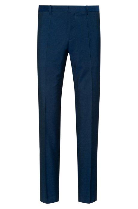 Pantalon Slim Fit en laine vierge texturée, Bleu