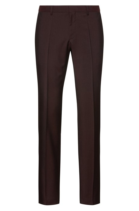 Pantaloni slim fit in lana vergine lavorata, Rosso scuro