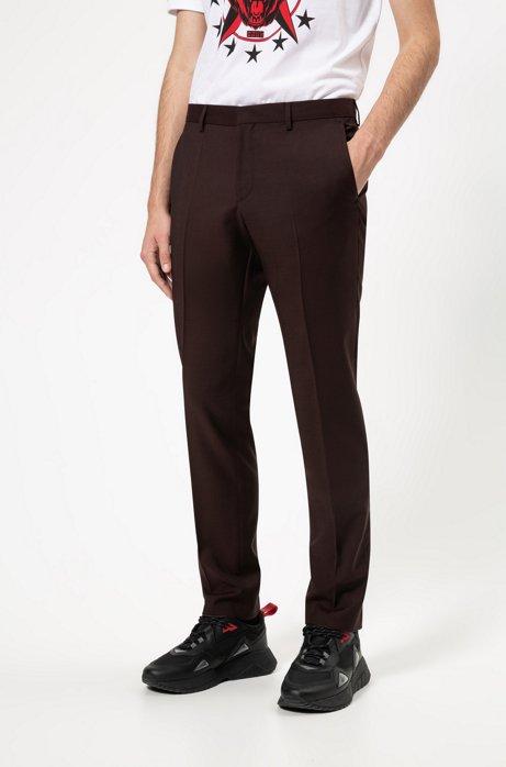 Pantalon Slim Fit en laine vierge texturée, Rouge sombre