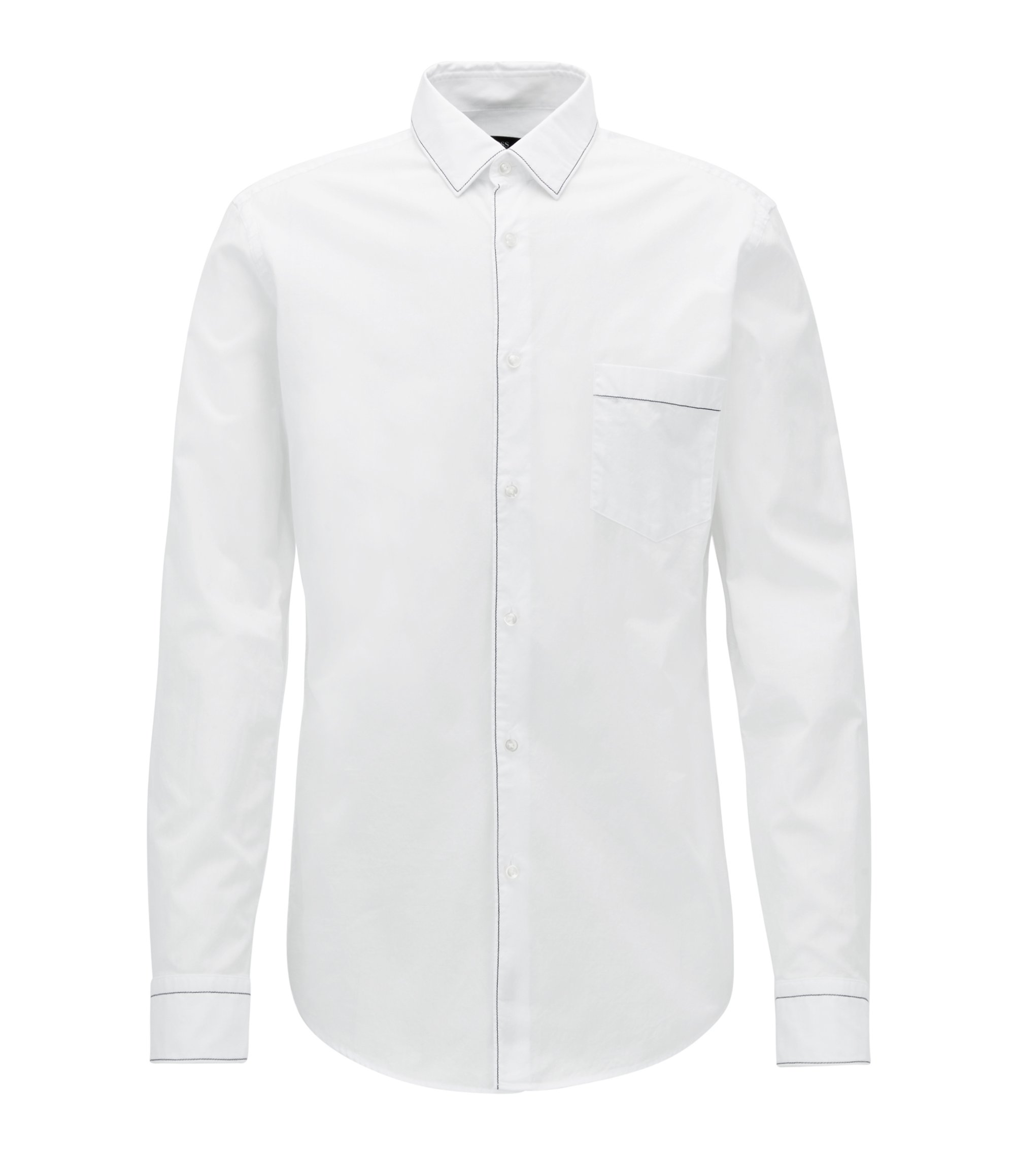 Slim-fit cotton shirt with contrast stitching, White