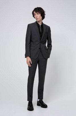 Slim-fit suit in mohair-look virgin wool, Dark Grey