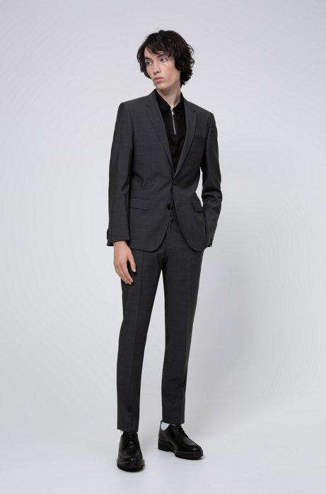 Slim-Fit Anzug aus Schurwolle in Mohair-Optik, Anthrazit