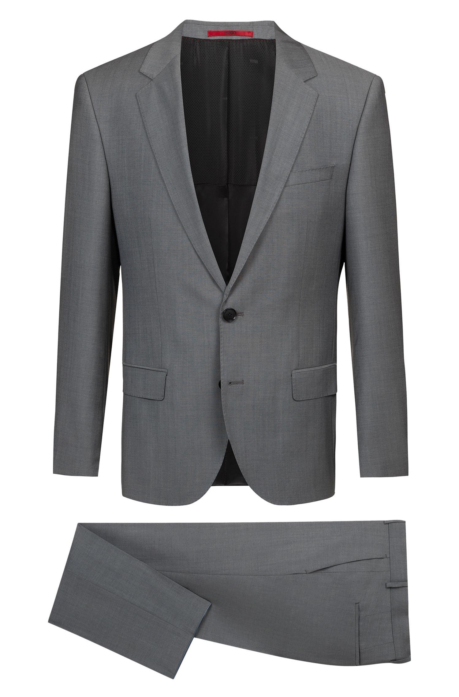 Slim-fit suit in mohair-look virgin wool, Grey