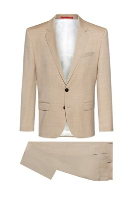 Slim-fit suit in mohair-look virgin wool, Beige