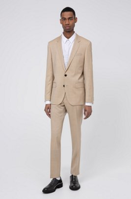 Slim-fit kostuum van scheerwol in mohairlook, Beige