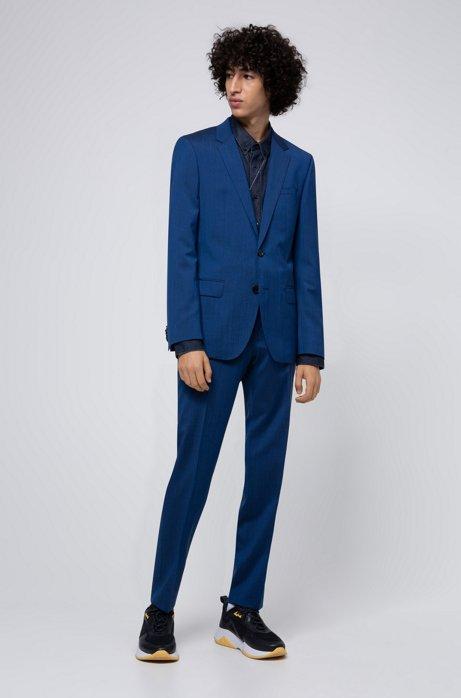 Traje slim fit en lana virgen con apariencia de mohair, Azul