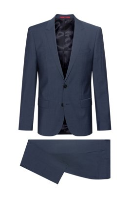 Slim-fit suit in mohair-look virgin wool, Dark Blue