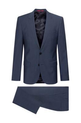 Slim-fit kostuum van scheerwol in mohairlook, Donkerblauw