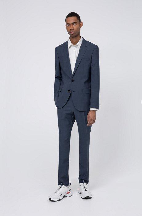 Slim-fit suit in mohair-look virgin wool, Dark Blue