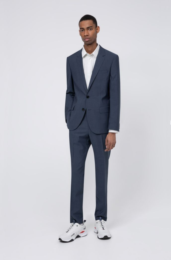 Slim-fit suit in mohair-look virgin wool