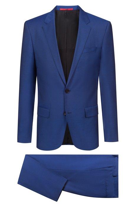 Costume Slim Fit en laine vierge au look mohair, Bleu
