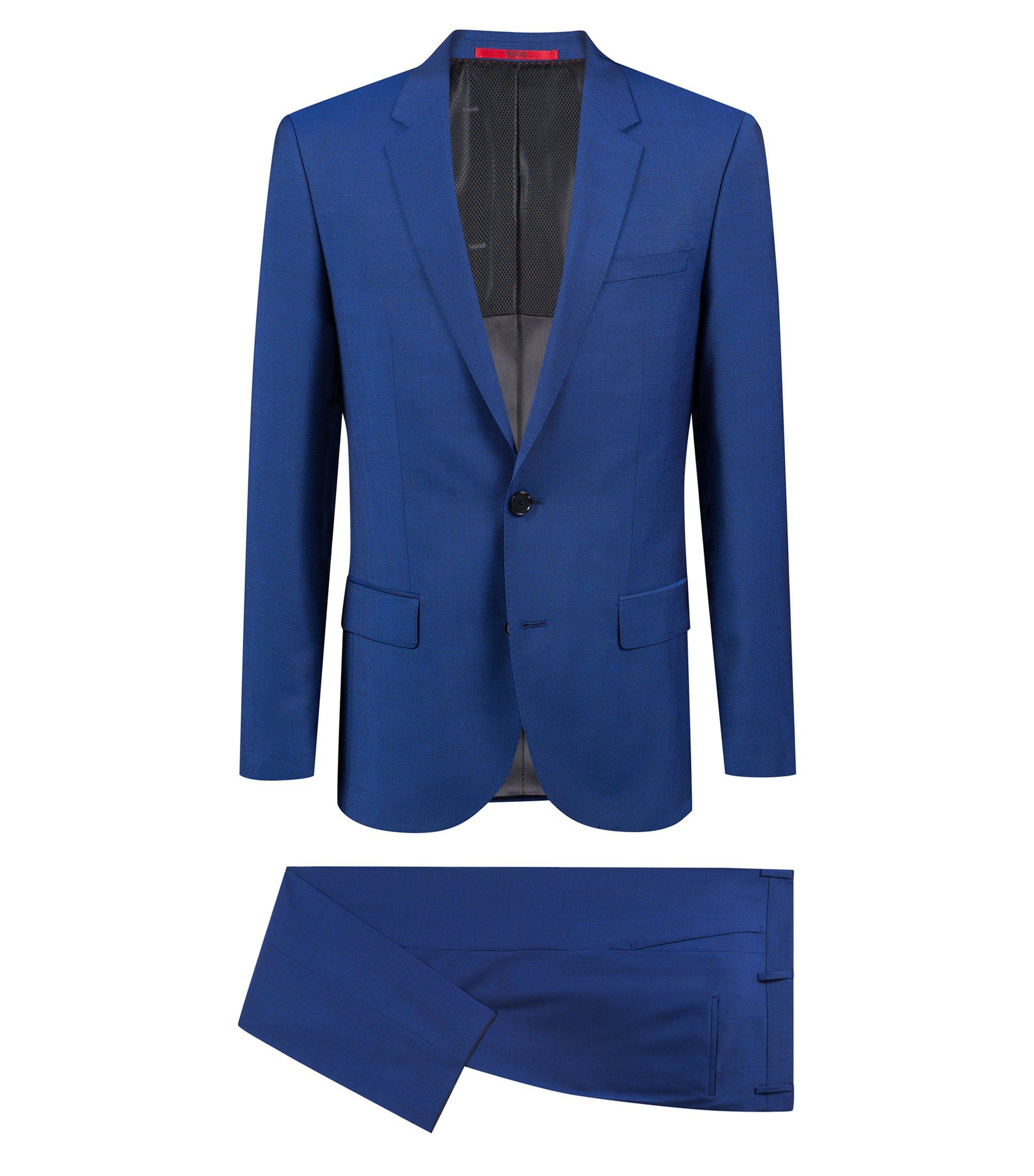 Slim-fit kostuum van scheerwol in mohairlook, Blauw