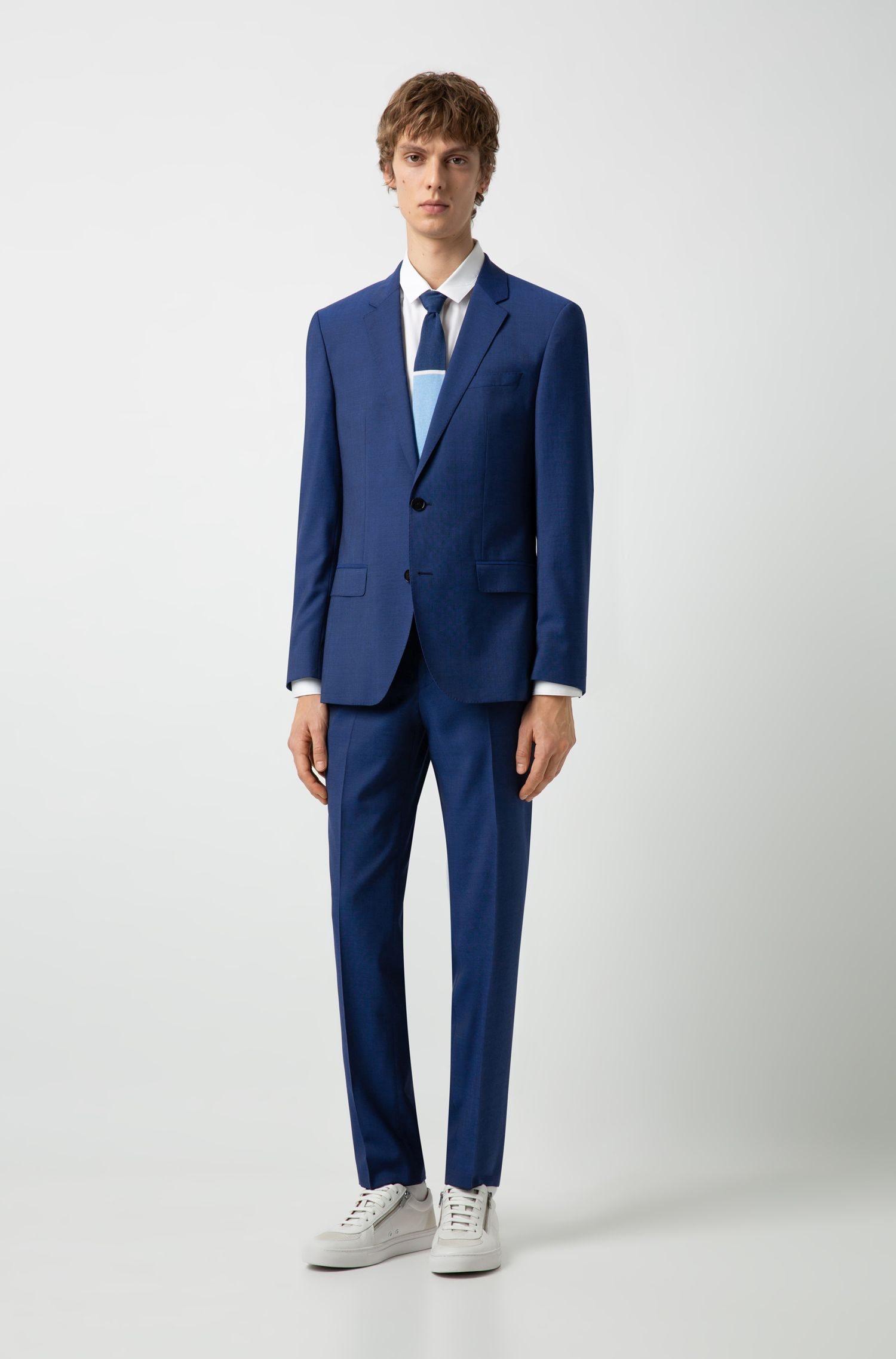Slim-fit suit in mohair-look virgin wool, Blue