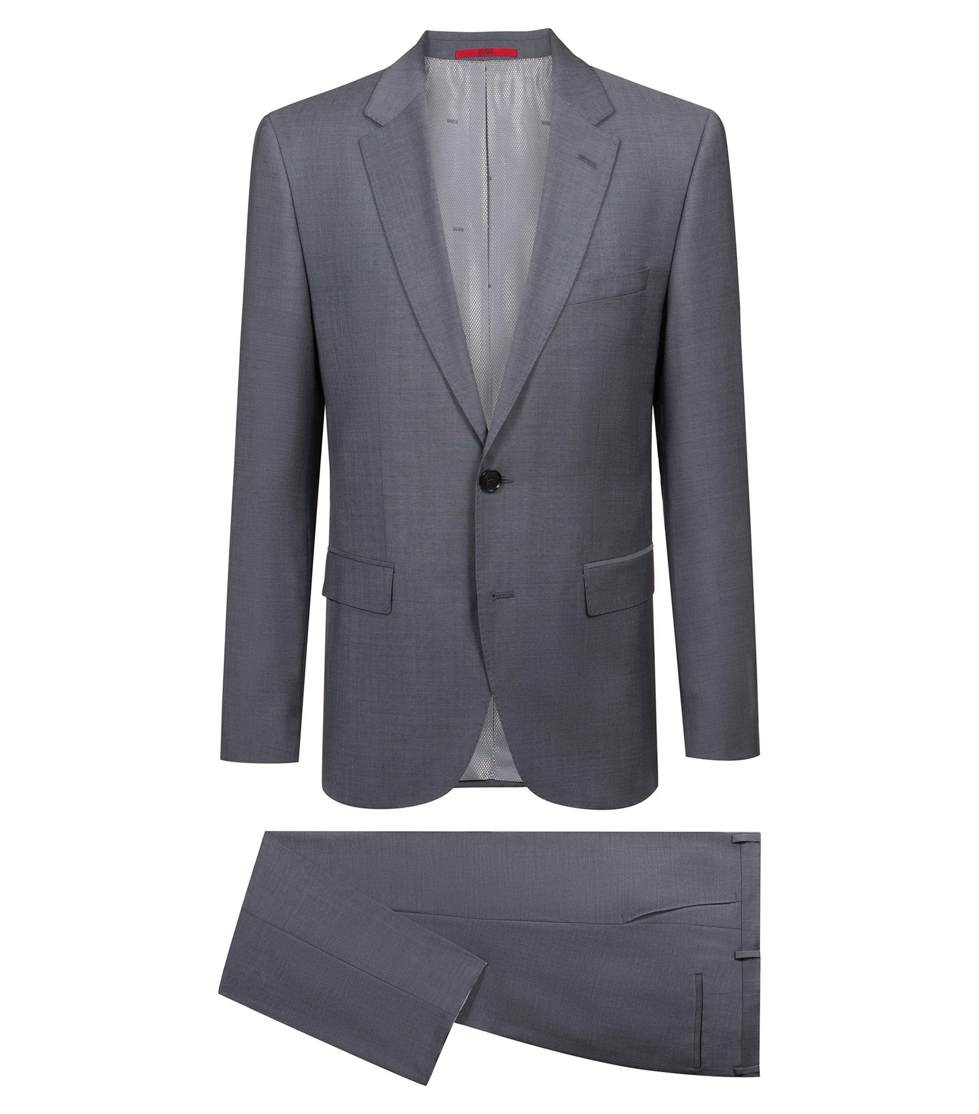 Regular-fit suit in textured virgin wool, Dark Grey